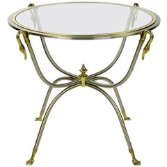 Italian Nickel and Brass End Table With Swan Motif