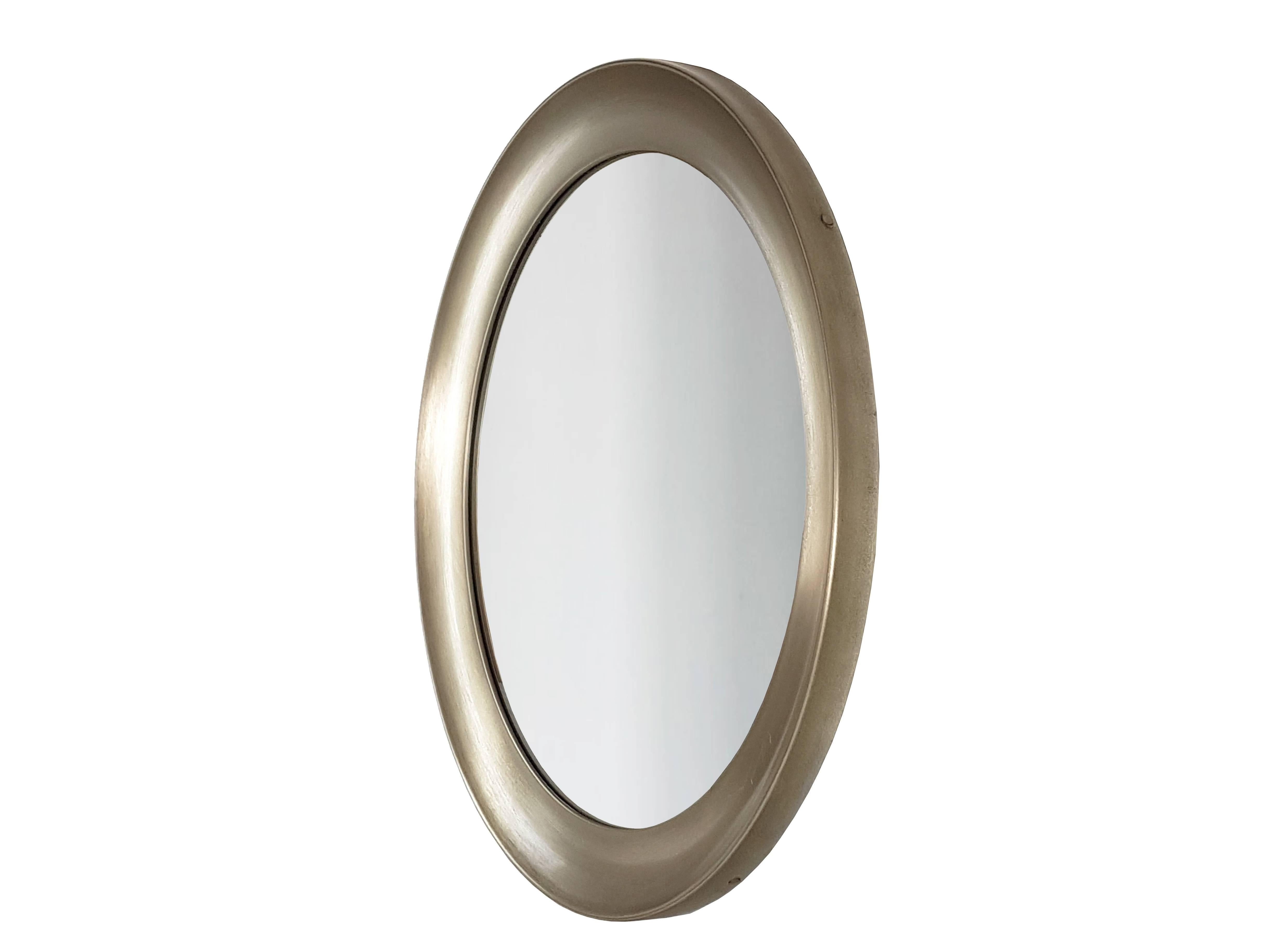 Italian Nickel Plated Brass Round Mirror Narcisso By Sergio Mazza For Artemide At 1stdibs