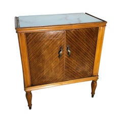 Italian Night Stands from 1970 in Walnut Natural Color, Glass Top