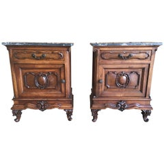 Italian Nightstands Solid Walnut with Marble Tops