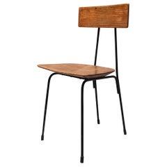 Italian Oak and Metal Chair, 1960s