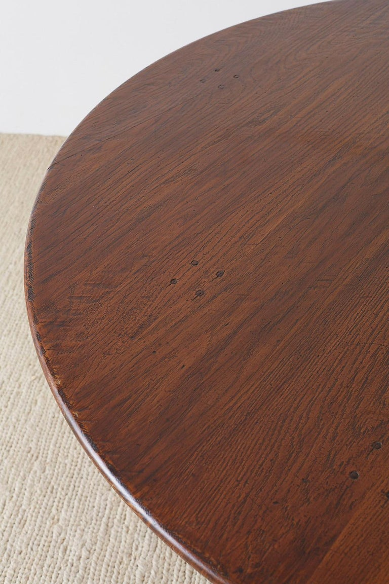 Italian Oak and Scrolled Iron Round Dining Table For Sale 1