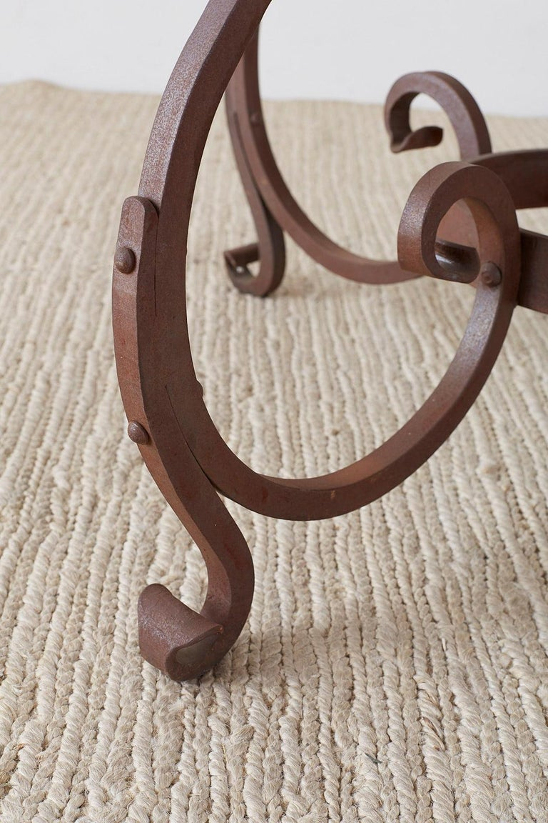 Italian Oak and Scrolled Iron Round Dining Table For Sale 2