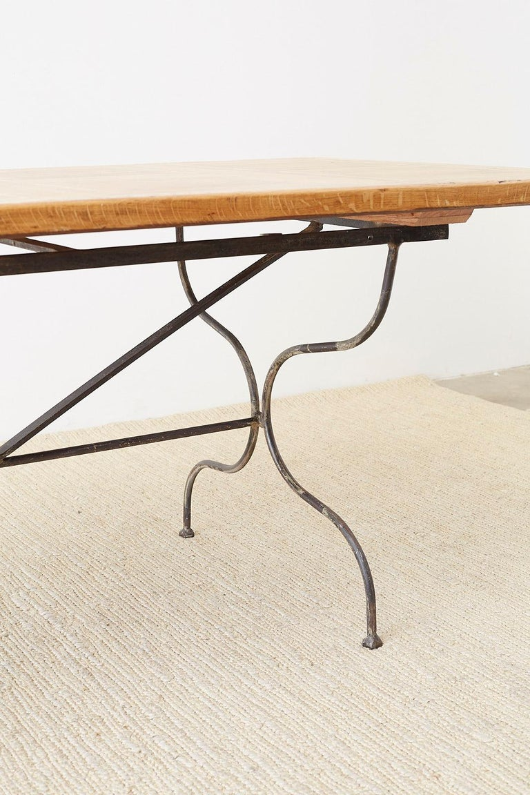 Italian Oak Farm Table with Iron Trestle Base For Sale 9