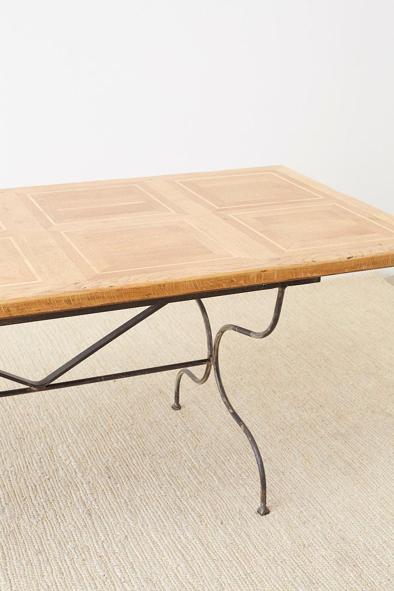 Italian Oak Farm Table with Iron Trestle Base For Sale 10