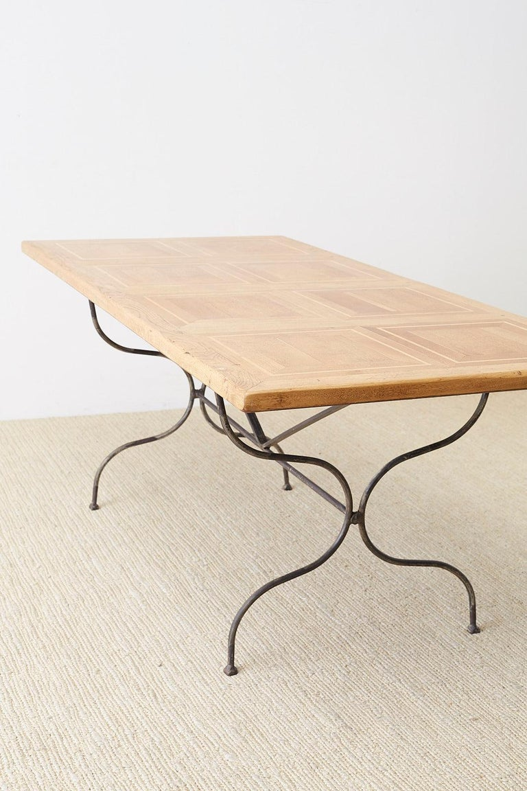 Italian Oak Farm Table with Iron Trestle Base For Sale 13