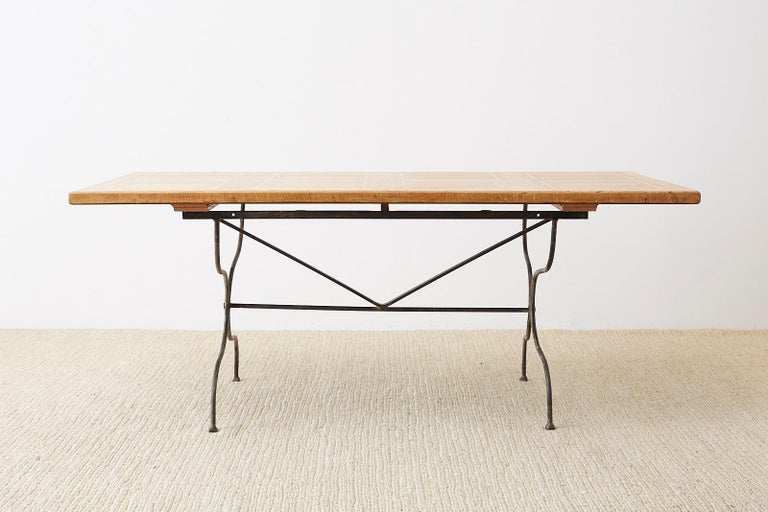 Italian Oak Farm Table with Iron Trestle Base In Good Condition For Sale In Oakland, CA