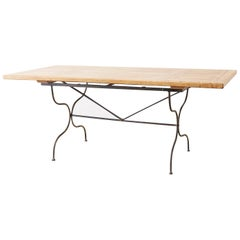 Italian Oak Farm Table with Iron Trestle Base