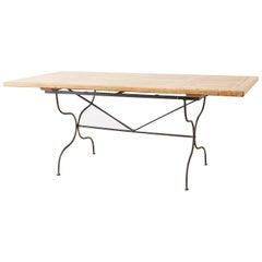 Italian Oak Farm Table with Iron Trestle Base