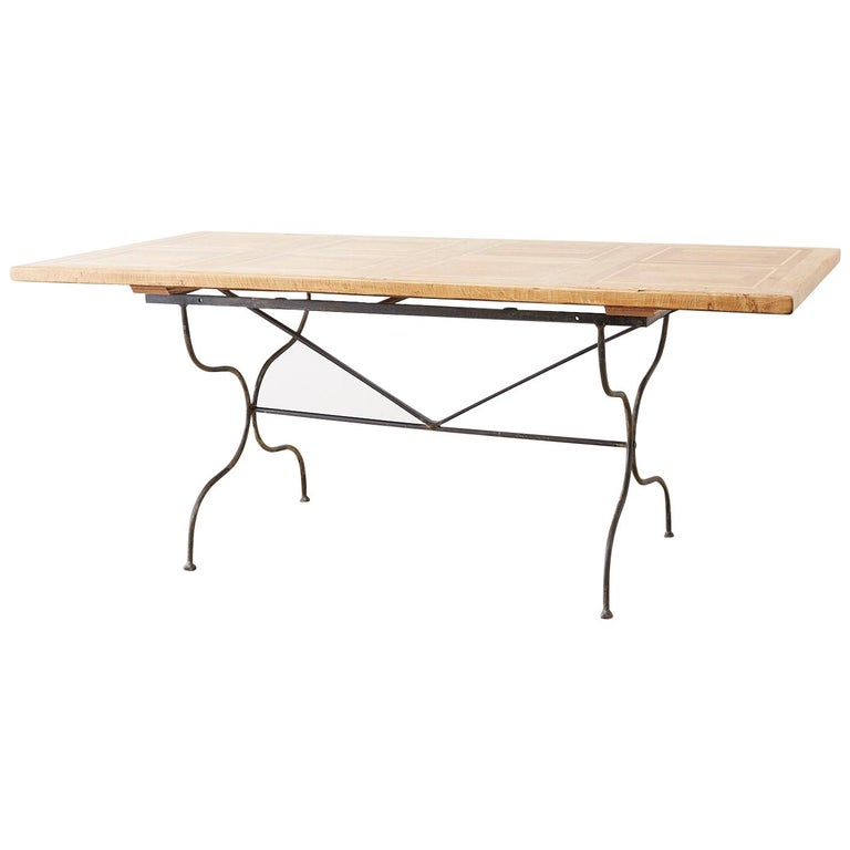 Italian Oak Farm Table with Iron Trestle Base For Sale
