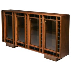 Italian Oak Sideboard with Glass Doors and Space for Bottles