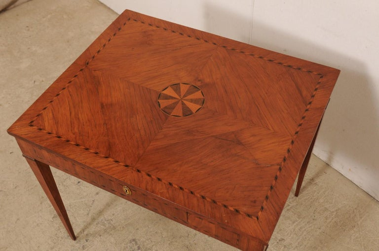 Italian Occasional Table with Floral Medallion Inlay Adorning Top, Early 19th C For Sale 1