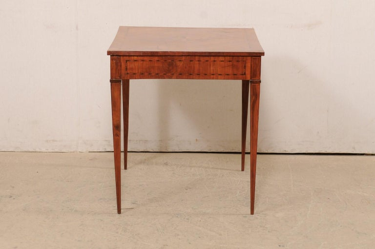 Italian Occasional Table with Floral Medallion Inlay Adorning Top, Early 19th C For Sale 4