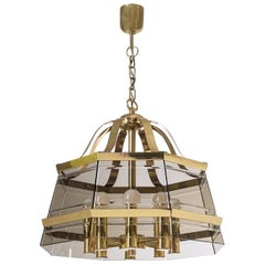 Italian Octagonal Brass Chandelier, 1980s, Smoked Glass