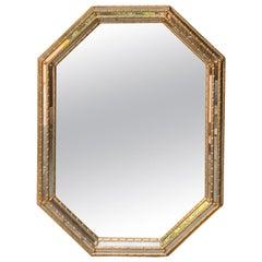 Italian Octagonal Giltwood Mirror, circa 1960s