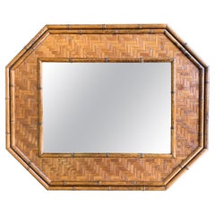 Italian Octagonal Rattan and Bamboo Mirror