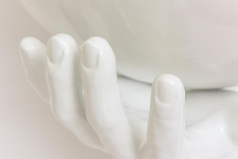 Italian Off White Ceramic 2 Part Monumental Hands and Bowl Sculpture Vintage In Good Condition For Sale In North Miami, FL