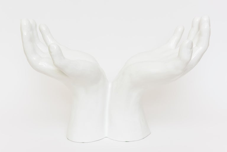Italian Off White Ceramic 2 Part Monumental Hands and Bowl Sculpture Vintage For Sale 1