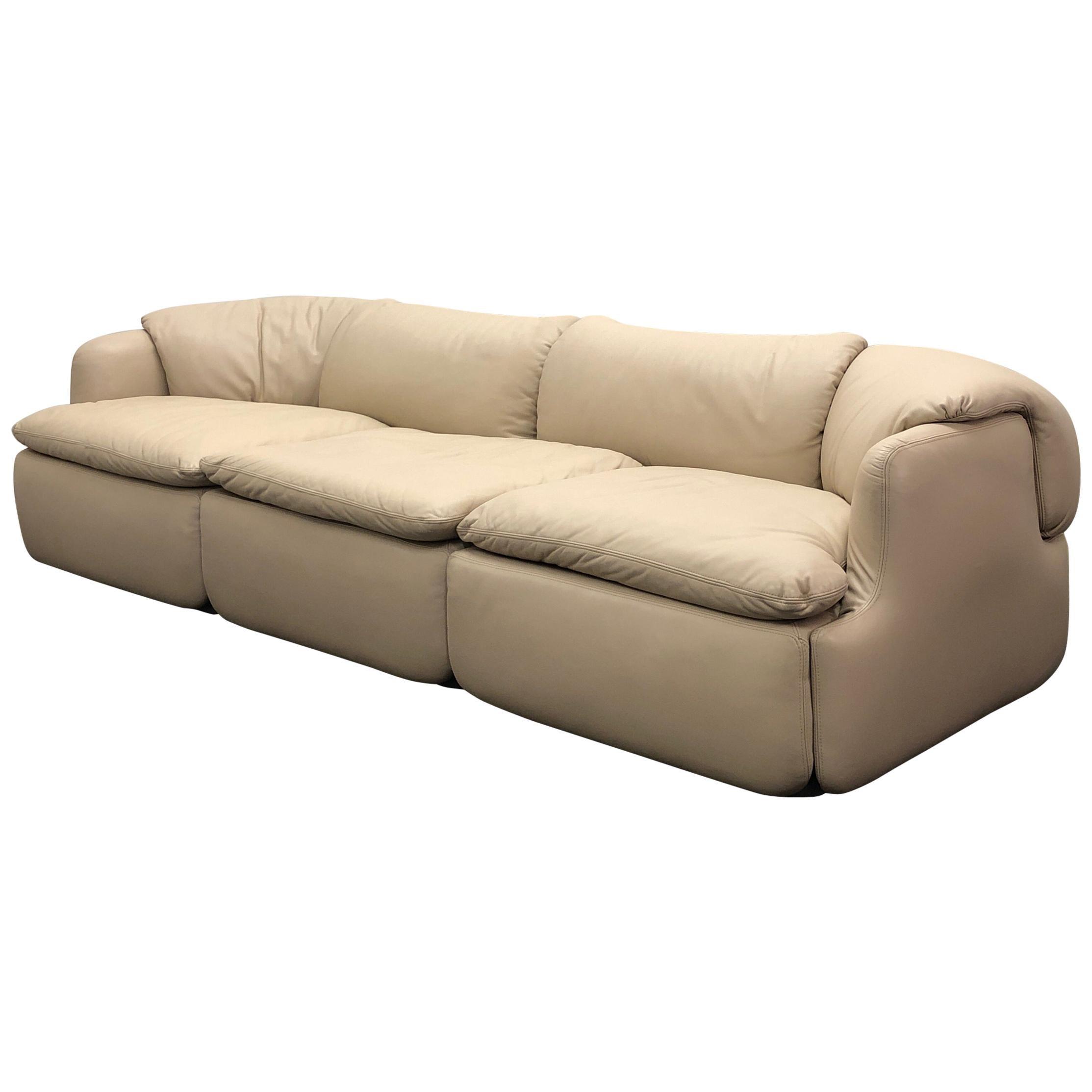 Italian Off White Leather Sofa by Alberto Rosselli for Saporiti