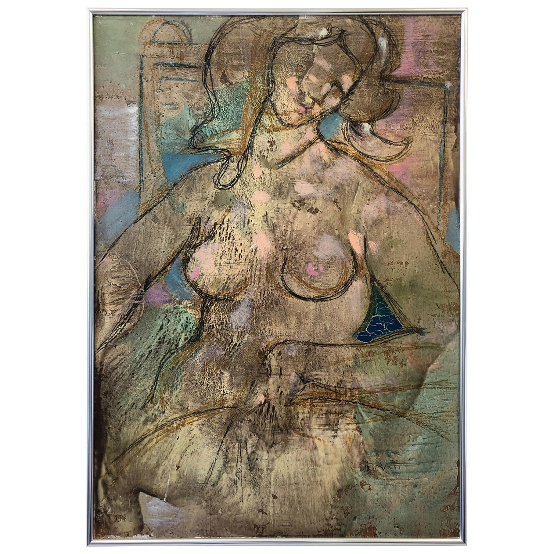 Italian Oil and Graphite Abstract Nude Painting by Lazzaro Donati