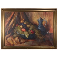 Italian Oil on Canvas Fruit Still Life Painting by Carl Gisehino, 20th Century