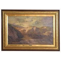 Italian Oil on Canvas, Highland River in Mountain Landscape, Signed F.Petiti