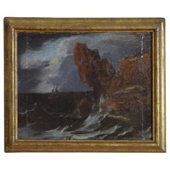 Italian Oil on Canvas on Board, Broken Two Masted Galeone in a Tempest