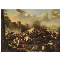 Italian Oil on Canvas Painting with Battle by Antonio Calza, 'Italy'