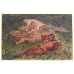Italian Oil on Canvas Painting Depicting 'Theatrical Scene' by Ernesto Bellandi