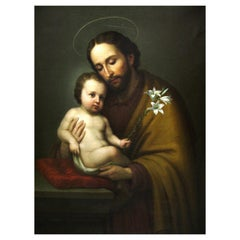 Italian Oil on Canvas Painting of Baby Jesus, 19th Century Signed Luis Cadena
