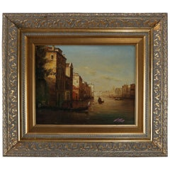 Italian Oil on Canvas Painting, Venice Canal Scene Signed N. Moss, 20th Century