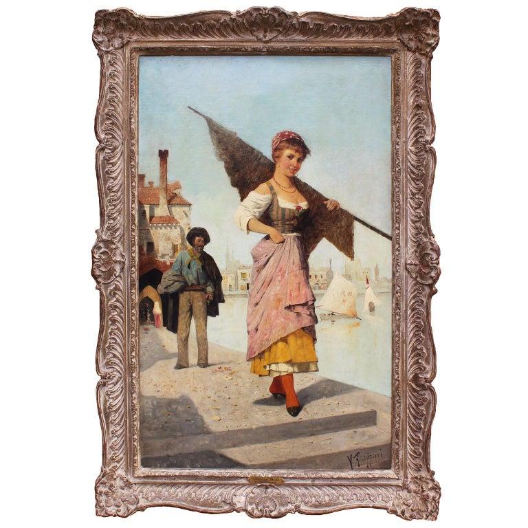 "Italian Oil on Canvas ""Venetian Belle"" Young Beauty Walking Venice Waterfront For Sale"