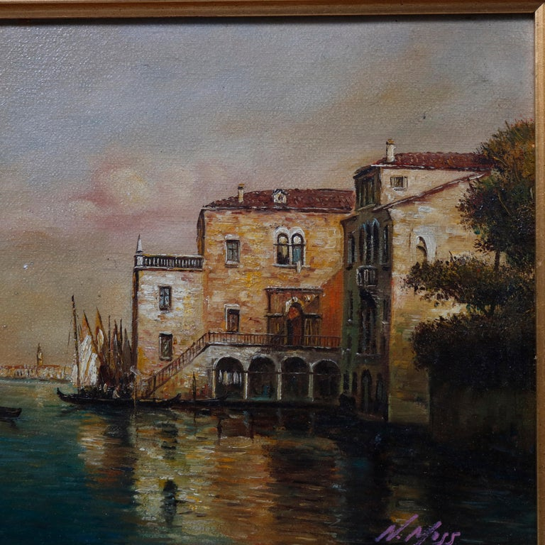 An Italian oil on canvas painting depicts Venice harbor scene with sailing vessels (boats) and structures, artist-signed lower right N. Moss, seated in giltwood frame, 20th century
