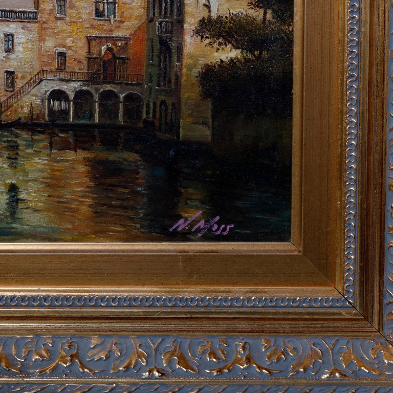 Hand-Painted Italian Oil on Canvas Venetian Harbor Scene Painting by N. Moss, 20th Century For Sale
