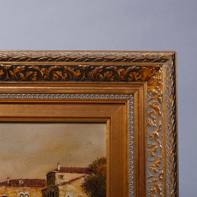 Giltwood Italian Oil on Canvas Venetian Harbor Scene Painting by N. Moss, 20th Century For Sale