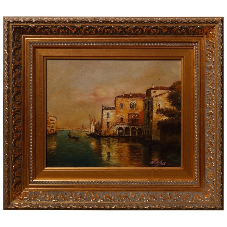 Italian Oil on Canvas Venetian Harbor Scene Painting by N. Moss, 20th Century For Sale