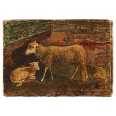 Italian Oil on Panel Sheep Painting, circa 1830