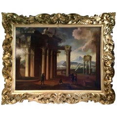 Italian Oil Painting on Board of Roman Ruins, 19th Century in Baroque Gilt Frame