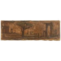 Italian Oil Painting on Canvas Landscape with 19th Century Architecture