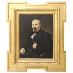 Italian Oil Painting on Canvas Signed and Dated 1881 Portrait of a Gentleman