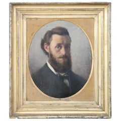 Italian Oil Painting on Canvas Signed and Dated Portrait of a Gentleman