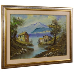 Italian Oil Painting on Canvas View of the Lake, 20th Century