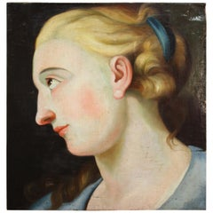 Italian Oil Painting on Panel with Lady, 20th Century