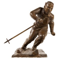 Skier Sculpture Italian Old Bronze Signed
