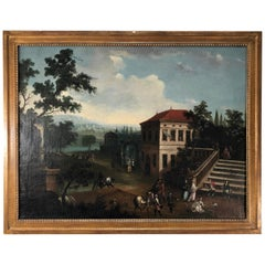 Italian Old Master Painting of Regal Palace and Garden