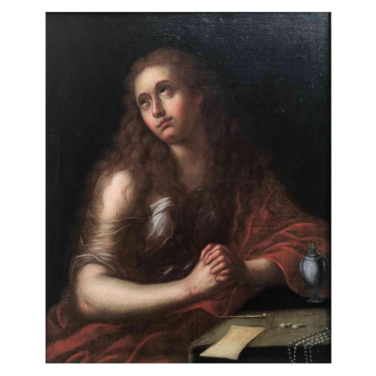 A mid-18th century Italian school oil on canvas religious painting, depicting Penitent Magdalene. The work depicts Mary Magdalene, recognizable by the attribute of the oil vase. Set in a later giltwood frame dating back to early 20th century, this