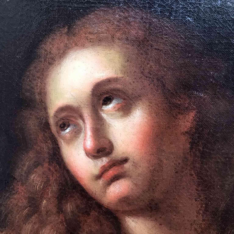 Italian Old Master Penitent Magdalene 18th Century Oil Painting on Canvas For Sale 1