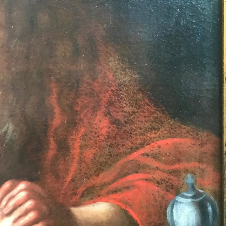 Carved Italian Old Master Penitent Magdalene 18th Century Oil Painting on Canvas For Sale