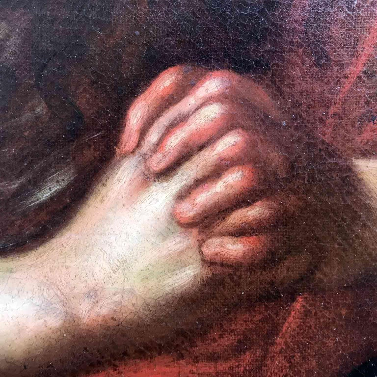 Italian Old Master Penitent Magdalene 18th Century Oil Painting on Canvas For Sale 4