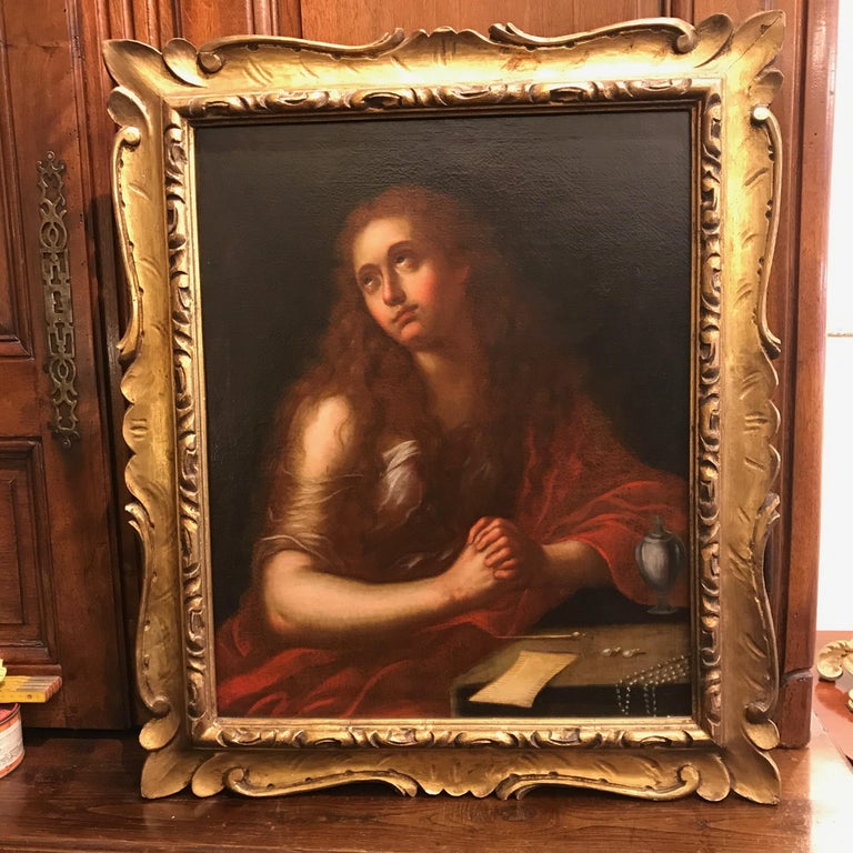 Italian Old Master Penitent Magdalene 18th Century Oil Painting on Canvas For Sale 7